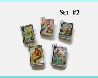 Miniature Fairy Tales Classics Book Charms Set of All Five, (Set#2)