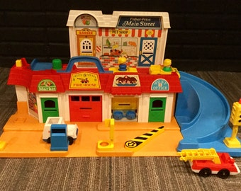 Vintage, 1980s, Fisher Price, Little People, Main Street, City Street, Block