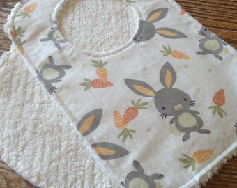 Burp Cloth and Bib Set for Baby, Chenille and Flannel, Sweet Bunnies, Snap Bib, Thick, ready to ship