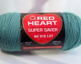 Sage Green Yarn, Red Heart Super Saver 100% Acrylic Washable Yarn Small Projects 1 Skein Yarn, Destash Knitting Crochet Supplies, No Dye Lot