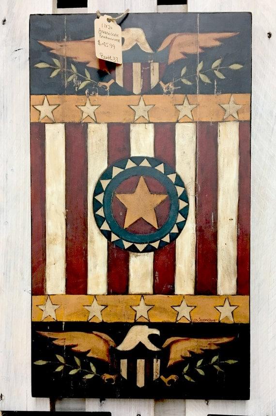 Home Decor Wall Art 11x20 Americana Emblem Print On