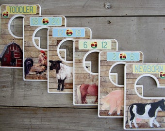Custom Baby Closet Dividers Barnyard Nursery Country Nursery Clothes Organizers Baby Shower Gift Baby Boy by Mumsy Goose