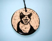 Happy Tuxedo Kitty Cat - Pottery Ornament – Yawning Kitten - Black and White -Sgraffito Design - Hanging Décor