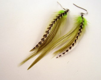 feather earrings hand made Grizzly fun lime