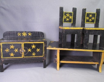 Vintage Doll or Dollhouse Furniture - Peasant Style Dining Room - Larger Scale