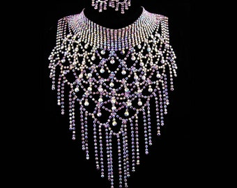 "HUGE statement necklace / aurora borealis 12"" bib choker & earrings / vintage drag queen jewelry / dramatic rhinestone fringe /"