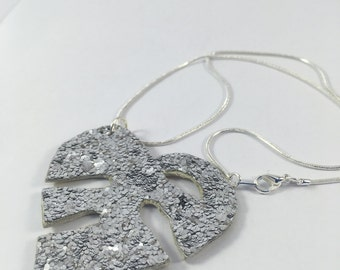 Cheese plant leaf reversible necklace