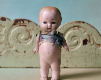 """Antique Miniature German Bisque Boy Doll Jointed Arms 3"""""""