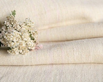 P 497 antique hemp linen roll FADED BABY ROSE 리넨 grainsack fabric 2.40yards wedding decor lin 18.90wide