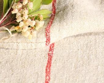 B 897 : Grain Sack antique linen, beautiful FRENCH RED, pillow benchcushion, 리넨, lin, 42.52 long, wedding, decoration