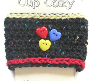 Crocheted Coffee Cup Cozy - Crocheted Black Tweed Variegated Cup Sleeve - Crocheted  Cup Warmer With Heart Buttons - Ready To Ship