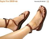 SALE - 30% OFF Brown Ankle-Strap Leather Sandals for Men & Women - Handmade Sandals, Leather Flip Flops, Unisex Flat Sandals, Brown Leather