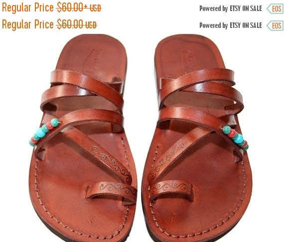 20% OFF 20 Percent OFF Brown Decor Buckle-Free Leather Sandals for Men & Women - Handmade Sandals, Leather Flip Flops, Jesus Sandals, Brown