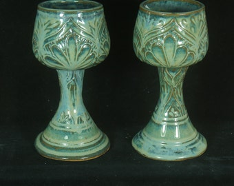Carved Goblet Pair, Blue Green Floral Goblet, Medieval Goblet, Mead Cup, Wine Glass, Chalice, Handmade Pottery