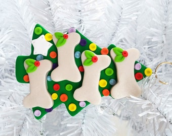 Christmas Tree for Four Dogs Ornament - Polymer Clay Dog Christmas Ornament - Dog Lovers Gift - Pet Ornament - Dog Owners Gift - 12151