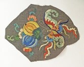 Antique Chinese Hand Embroidered Fabric Fragment embroidery vintage moth and fruit #3