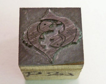 "Pisces Fish Vintage Letterpress Printer's Block printing block about 11/16"" square"