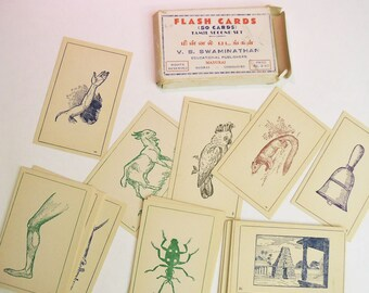 Vintage Tamil Flash Cards from Madurai India Tamil Second Set boxed set of 50 cards by V.S. Swaminathan
