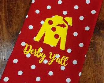 Red polka dot hand towel with yellow Jockey Silk, Kentucky Derby hand towel, Derby decor