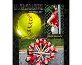 SPORTS Memory Mates - Honeycomb Softball - (2)  8x10 Digital Photoshop Templates for Sports Photographers.