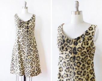 leopard print dress, vintage 60s animal print dress, 1960s faux fur dress, small medium