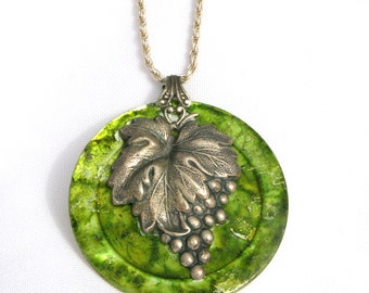 Vintage Hand Painted Mother of Pearl Button Pendant Vintage Metal Leaf and Grapes with Sterling Chain
