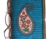 Indian Paisley, Midnight Blue, Blank Journal, Medium Plus, Acid Free Paper, Handmade Paper, Boteh, Buta Design, Miniature Painting