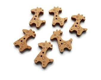 Giraffe Wooden Buttons Set of 6  (BB109)