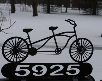 Custom Bicycle For Two MAILBOX TOPPER Metal Address Sign Personalized Tandem  Bike