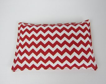Rice Heat Pad, Rice Cold Pack, Red and White Chevron, Heat Therapy Pack, Microwave Heat pad