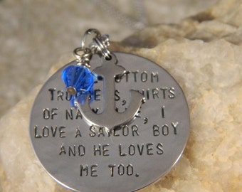 I Love a Sailor Boy and He Loves Me Too Necklace with small stainless anchor