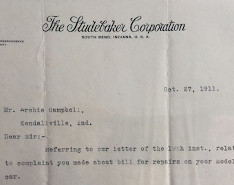 Antique Letterhead for The STUDEBAKER CORPORATION, South Bend, Indiana 1911' -- Free Shipping