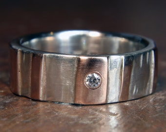 """6mm """"Woodland"""" ring. Recycled sterling silver & 9ct or 18ct gold, ethical lab grown moissanite. Hand made in the UK."""