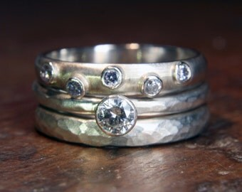 1/4ct Solitaire wedding stacking ring set. Engagement, wedding and eternity rings. Handmade to order in the UK