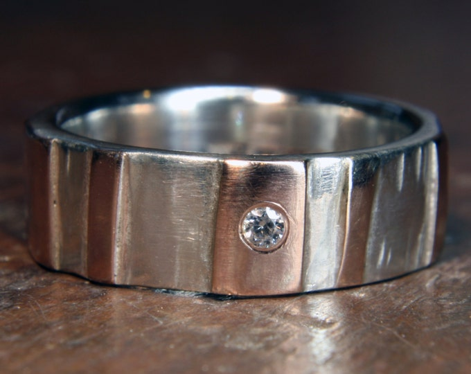 "6mm ""Woodland"" ring. Recycled sterling silver & 9ct or 18ct gold, ethical lab grown moissanite. Hand made in the UK."