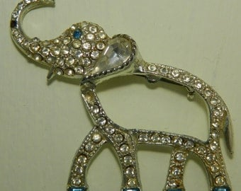 Rhinestone Elephant Pin Brooch Signed Oleet Trumpeting Elephant Pin Brooch As Is