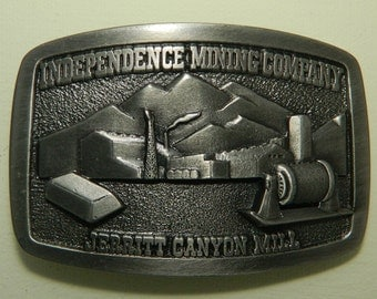 Independence Mining Company Belt Buckle Jerritt Canyon Mill Pewter Belt Buckle Safety Pays