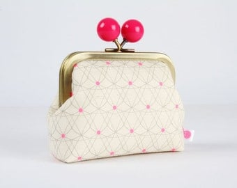 Metal frame coin purse with color bobble - Crinoline in pink - Color dad / Cotton and Steel / Melody Miller / Jubilee / neon pink white navy