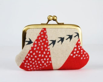 Metal frame purse with two sections - Hills in red - Siamese daddy / Echino Japanese fabric / Two pockets / metallic silver / grey birds