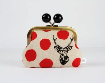 Metal frame coin purse with color bobble - Samber deer in red - Color dad / Japanese fabric / Echino / Big dots black deer