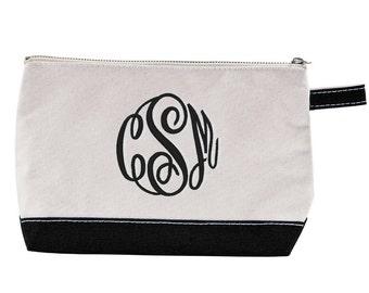 Black Monogrammed Canvas Cosmetic Bag