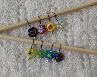 knitting stitch markers - snag free - 12mm round flower shaped multicolor millefiori beads - three loop sizes available