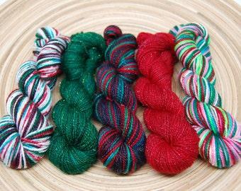 MADE TO ORDER - Christmas Mini Skein Yarn Kit - Glam Rock Sparkle Sock Yarn- 438 Yards - Superwash Merino Nylon
