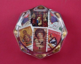 Madonna Paperweight, Stamp Collector Gift, Stamp Paperweight, Christmas Stamps, Postage Stamps, Octagon Paperweight, Glass Paperweight