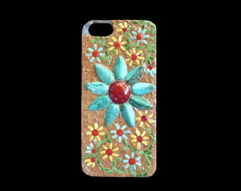 Mosaic Iphone Cell Phone Cover Turquoise with Turquoise Howlite Flower
