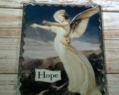 "Angel Plaque ""Hope"" Soldered Glass Ornament With Beaded Hanger"