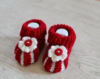 Newborn Baby Girl Ruby and Cream Flower Booties