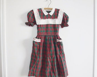 SALE // Vintage Green and Red Plaid Dress