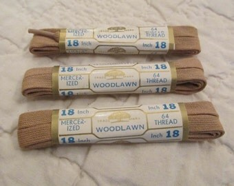 Vintage New Shoe Laces Woodlawn Mercerized Cotton 64 thread 18 inch Tan 3 packages NOS