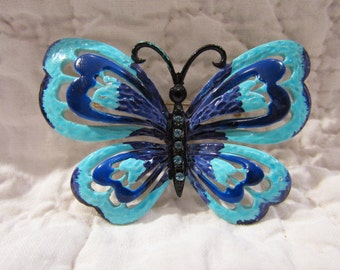 Vintage Butterfly Brooch with Rhinestones